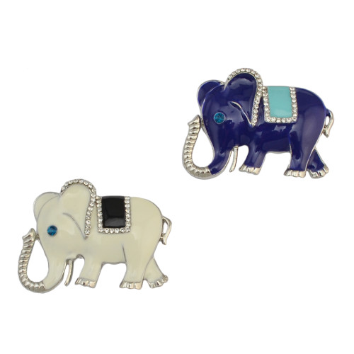 P-0353 Vintage Elephant Brooch Pins Crystal Rhinestone Silver Alloy Brooches Unisex Jewelry Suit Accessories
