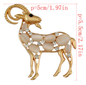 P-0355 Fahsion Vintage Silver Gold plated Deer Shape Brooch Pins Crystal Rhinestone  Brooches Unisex Jewelry Suit Accessories