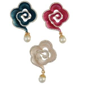 P-0354 Korean Fashion Gold Plated Plant Flower Shape Rhinestone Pearl Collar Pin Brooch