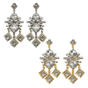 E-4012 Bohemian Tibetan Alloy Quadrilateral Pendant Rhinestone Crystal Dangle Earrings Women Jewelry