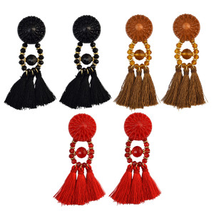 E-4014 8 Colors Fashion Long Section Female Retro Black Crystal Bohemia Fringed Temperament Earring