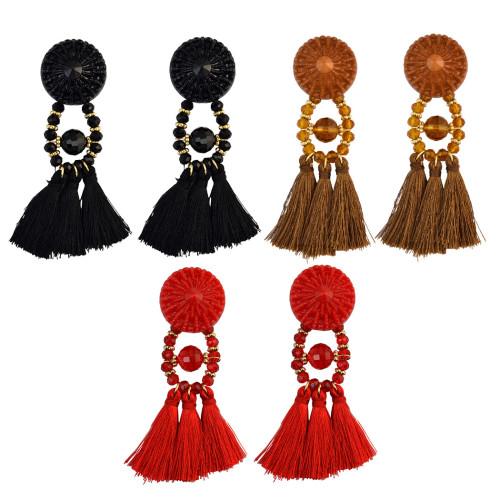 E-4014 8 Colors Fashion Long Section Female Retro Black Crystal Bohemia Fringed Temperament Earring