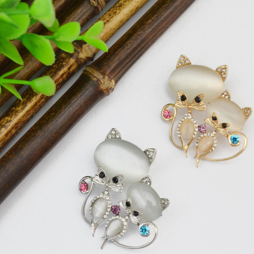 P-0356 Fashion Cute Pin Brooch Cat's Eye Stone Crystal Rhinestone Fox Design