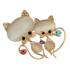 P-0356 Fashion Cute Pin Brooch Cat's Eye Stone Crystal Rhinestone Fox Design
