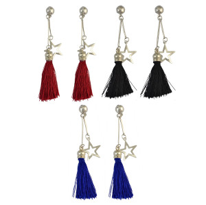 E-4017 3 colors Bohemian Artificial Silk Tassel Drop Hook Earring Silver Plated Star Charm Dangle Earrings for Women