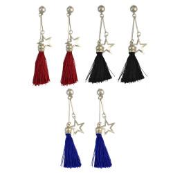 E-4017 3 colors Bohemian Artificial Silk Tassel Drop Hook Earring Silver Plated Star Charm Dangle Earrings for Women