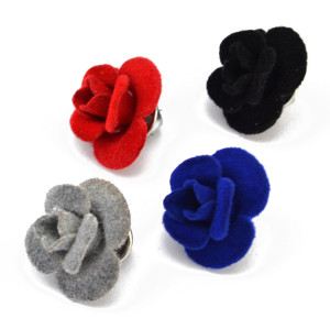 P-0364 New Fashion Black Red Blue Grey Flower Shape Brooch Pins For Women Elegant Accessory