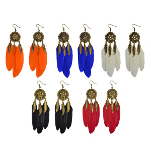 E-4018 5 colors Bohemian Vintage Bronze Long Feather  Drop Hook Flower Earring Dangle Earrings for Women