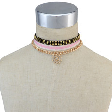 N-6701 3Pcs/Set Punk Style Gold Plated Alloy Chain Black Leather Rhinestone Rudder shape Charm  Choker Collar Short Necklace Women Jewelry
