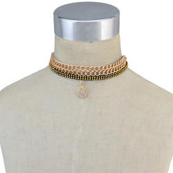 N-6702 Punk Gothic Sexy Choker Necklace Collar Velvet Necklace Gold Chain Set of 4