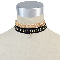 N-6706 4 Pcs/Set Vintage Black Leather Gold Plated Alloy Chain   Charm Choker Collar Short Necklace Women Jewelry