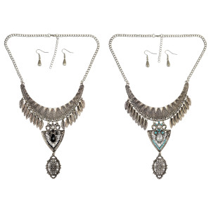 N-6703 Vintage Silver Plated Chain Pendant Crystal Feather Drop Necklace for Women Jewelry