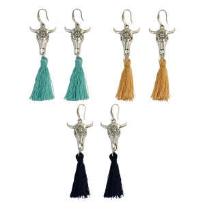 E-4025 Bohemian Handmade Rope Chain Cattle Pendant Rope Tassel Earrings for Women