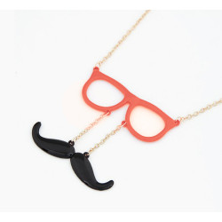 N-2753 New Arrival Cute Gold Plated Chain Beard Glasses Pendant Necklace