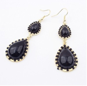 E-0512 New Fashion European Double Black Drop Gem Pendant Charming Earring