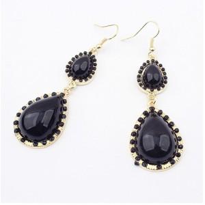 E-0512 New Fashion European Double Black Drop Gem Pendant Charming Earring