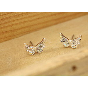 silver plated colorful rhinestone angel wing ear stud E-1085