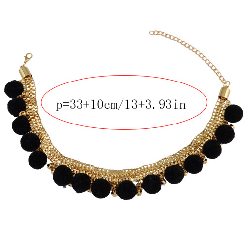 N-6722 Bohemia Gold Plated Box Chain Choker Alloy Bell Plush Ball Charms Collar Short Necklace Adjustable Women Jewelry, Black/Grey/Red Color
