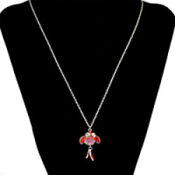 N-6720 Bohemian Silver Fashion Inlay Crystal Rhinestone Little Goldfish Pendant Necklace Women & Girls Jewelry