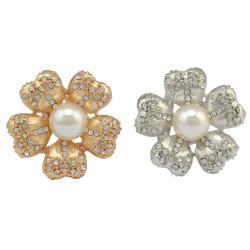 P-0362 Fashion Flowers Rhinestones Crystal Pearl Scarf Buckle Brooch for Women