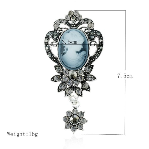 P-0357 Vintage Retro Brooch Pins Victoria Palace Antique Relief Queen Head Portrait Rhinestone Flower Shape Brooches For Women Accessory