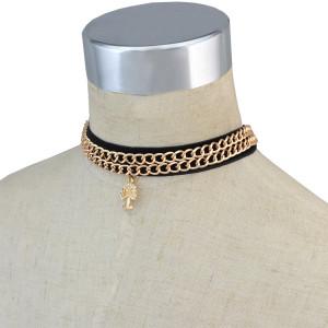 N-6708 3Pcs/Set Punk Style Black Velvet Double Gold Alloy Chains Choker Short Clavicle Necklace Rhinestone Tree Shape Pendant Women Jewelry