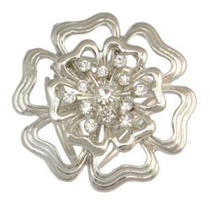P-0361 Bohomian Style Vintage Gold Silver Plated Alloy Flower Shape Crystal Scarf Buckle Brooch Women & Girl Accessory