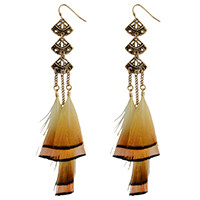 E-4022 Bohemian Brown Feather Tassel Drop Hook Earring Fan-shaped Dangle Earrings for Women Jewelry