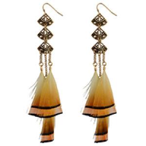 E-4022 Bohemian Brown Feather Tassel Drop Hook Earring Fan-shaped Dangle Earrings for Women Jewelry