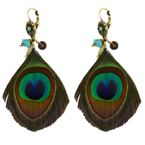 E-4021 Bohemian Retro Handmade Earrings Green Peacock Tail Feather Drop Dangle Earring for Women