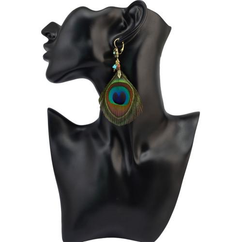 E-4021 Bohemian Retro Handmade Earrings Green Peacock Tail Feather Drop Dangle Earring for Women