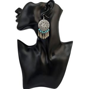 E-4020 Bohemian Round Flower Tassel Pendant Hook Earring for Women Jewelry