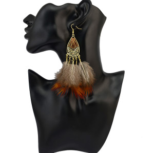 E-4019 Bohemian Indian Vintage Retro Style Gold Plated Alloy Butterfly Shape Red Yellow Feather Tassel Dangle Drop Long Earrings For Women Jewelry