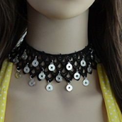 N-6718 Bohemian Style Braid Black Rope Choker Coins Charms Short Clavicle Wide Necklace Women Jewelry