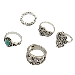 R-1427 5Pcs/set Fashion Vintage Turquoise Resin Beads Knuckle Nail Midi Ring Set Jewelry for Women