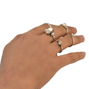 R-1428 Fashion 6pcs/set Vintage Joint Knuckle Nail Stimulated Pearl Rhinestone Zircon Midi Ring Set Jewelry