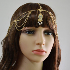 F-0385 Fashion Gold Plated Rhinestone Pearl Pendant Hairband Korea Style Elastic Band Headwear for Women Jewelry