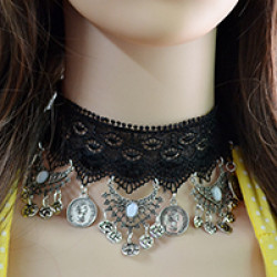 N-6716 Bohemian Black Sexy Lace Choker Resin Beads Coins Tassels Necklace for Women Jewelry