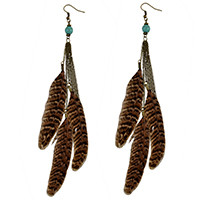 E-4027 3 Styles Bohemian Bronze Alloy Hook Earring Feather Tassel Chain Dangle Long Earrings for Women Jewelry