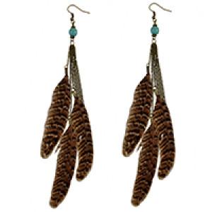 E-4027 3 Styles Bohemian Bronze Alloy Hook Earring Feather Tassel Chain Dangle Long Earrings for Women Jewelry