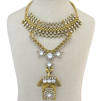 N-6725 Bohemia Rhinestone Long Pendant Necklace Fashion Gold Plated Crystal Charm Choker Necklaces for Women Jewelry
