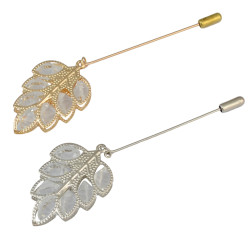 P-0358 Fashion Gold Silver Plated Alloy Resin Beads Leave Shape Brooch Pin  Suit Jacket Accessories For Women & Girls Accessory