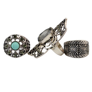 R-1432 3pcs/set Fashion Vintage  Turquoise Joint Knuckle Nail Crystal Rhinestone Midi Ring Set Jewelry for Women