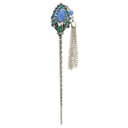 F-0390 Vintage Silver Plated Alloy Hairpin Fashion Ethnic Tribal Rhinestone Peacock Headwear for Women Hair Jewelry
