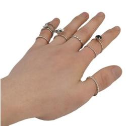 R-1431 9pcs/set Bohemian Silver Joint Knuckle Nail Midi Ring Inlay Crystal Rhinestone Finger Rings For Women Jewelry