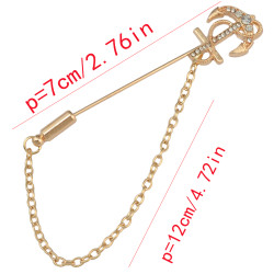 P-0367 Fashin Gold Silver Plated Alloy Rhinestone Rudder Scissors Shape Brooches Pins Suit Jacket Unisex Accessory