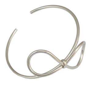 B-0837 Fashion Gold Silver Plated Bow Shaped Cuff Adjustable Bangle Bracelet  Jewelry