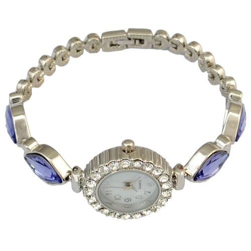 B-0836 New Arrival 18k Gold Filled Watches Bangle Rhinestone crystal Flower Women Bracelet Dress Quartz Watch Casual Wristwatch Free Shipping