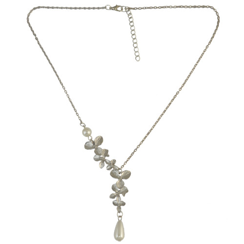N-6724 Fashion Vintage Pendant Charm Chain Flower Pearl Adjustable Necklace for Women