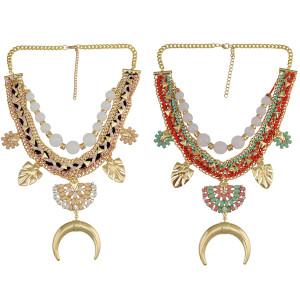 N-6727 Fashion Long Charm Necklace Bohemia Rope Braid Rhinestone Statement Necklace for Women